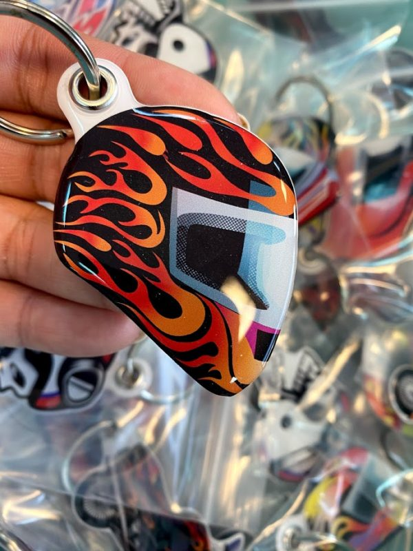 Fashion custom design helmet shape doming keychain key ring | Helmet 207