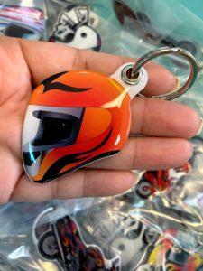Fashion custom design helmet shape doming keychain key ring | Helmet 206