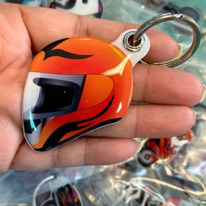 Fashion custom design helmet shape doming keychain key ring | Helmet 206