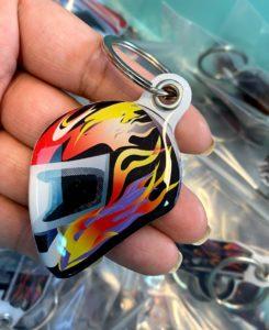 Fashion custom design helmet shape doming keychain key ring | Helmet 203