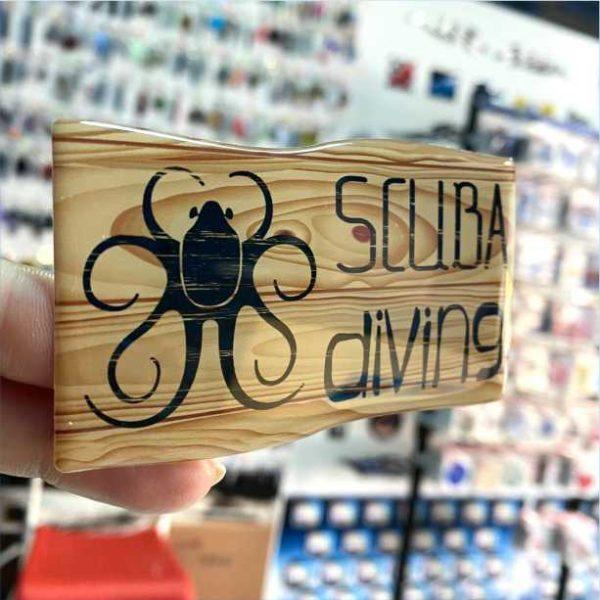 Scuba Diving Wood flag sticker